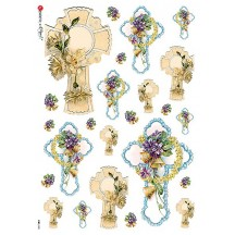 Floral Crosses Rice Paper Decoupage Sheet ~ Italy