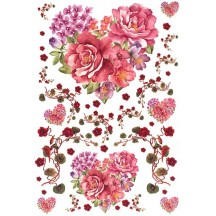 Flower Hearts and Vines Rice Paper Decoupage Sheet ~ Italy