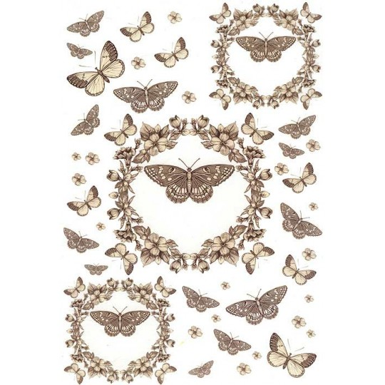 Butterflies and Flower Embellishments Rice Paper Decoupage Sheet ~ Italy