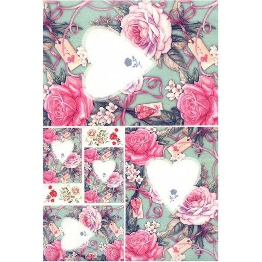 Roses and Hearts Rice Paper Decoupage Sheet ~ Italy