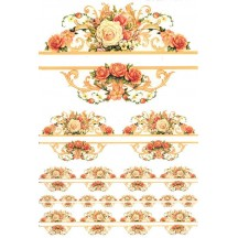 Rose Flourish Borders Rice Paper Decoupage Sheet ~ Italy