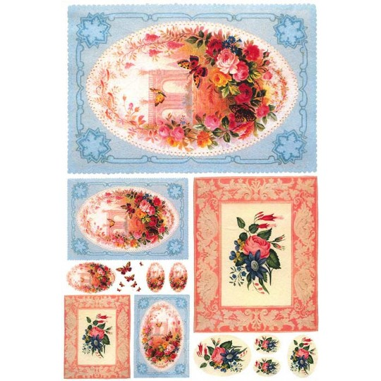 Pink and Blue Flowers in Frames Rice Paper Decoupage Sheet ~ Italy