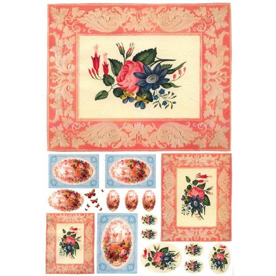 Pink and Blue Fowers in Frames Rice Paper Decoupage Sheet ~ Italy