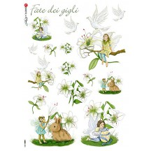 Lilies Fairy Italian Flower Fairies Rice Paper Decoupage Sheet ~ Italy
