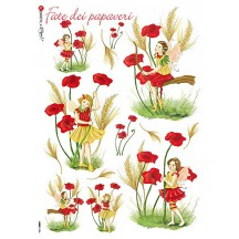 Poppy Fairy Italian Flower Fairies Rice Paper Decoupage Sheet ~ Italy