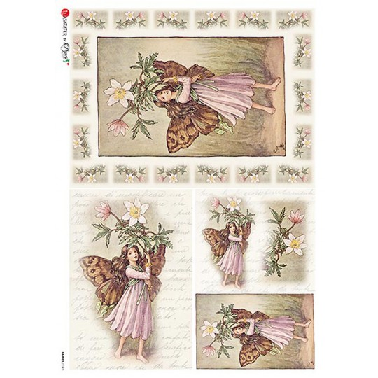 The Windflower Fairy Flower Fairies Rice Paper Decoupage Sheet ~ Italy