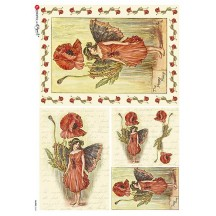 The Poppy Fairy Flower Fairies Rice Paper Decoupage Sheet ~ Italy