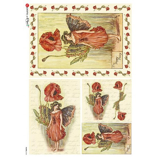 The Poppy Fairy Flower Fairies Rice Paper Decoupage Sheet ~ Italy