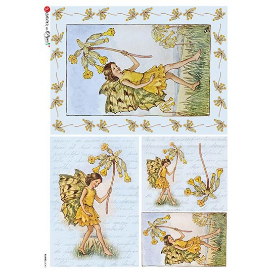 The Cowslip Fairy Flower Fairies Rice Paper Decoupage Sheet ~ Italy