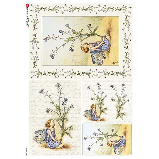 The Forget-Me-Not Fairy Flower Fairies Rice Paper Decoupage Sheet ~ Italy