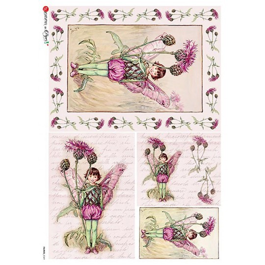 The Greater Knapweed Fairy Flower Fairies Rice Paper Decoupage Sheet ~ Italy