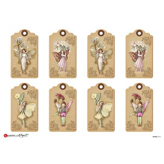 Flower Fairies Tags Rice Paper Decoupage Sheet ~ Italy