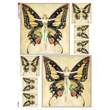 Butterfly Maiden Rice Paper Decoupage Sheet ~ Italy