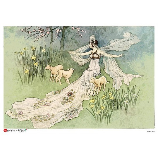 Fairy and Lambs Rice Paper Decoupage Sheet ~ Italy