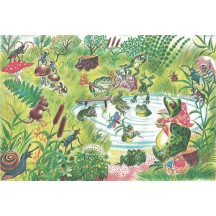 Whimsical Frog Pond Rice Paper Decoupage Sheet ~ Italy