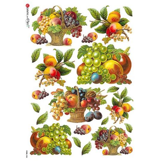 Classic Fruit Basket Rice Paper Decoupage Sheet ~ Italy