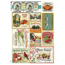 Vintage Fruit and Vegetable Labels Print Rice Paper Decoupage Sheet ~ Italy