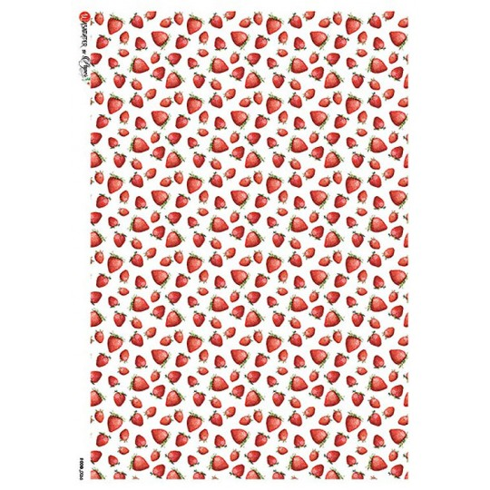 Petite Strawberry Print Rice Paper Decoupage Sheet ~ Italy