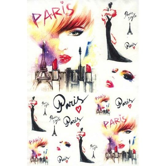 Paris Style Colorful Rice Paper Decoupage Sheet ~ Italy