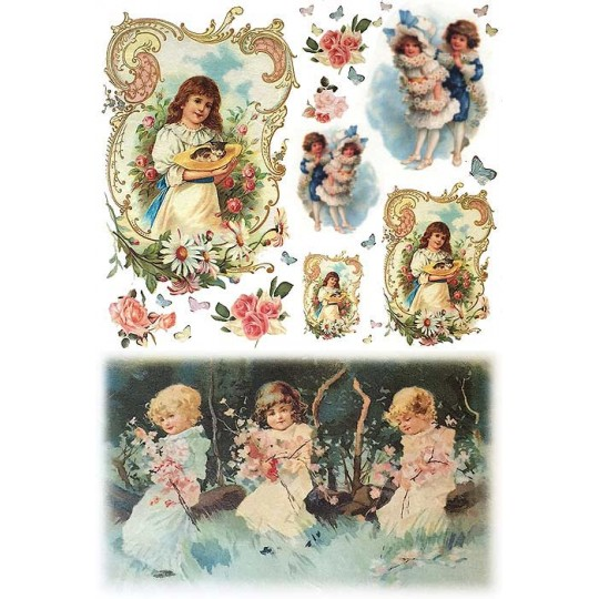 Children with Flowers Rice Paper Decoupage Sheet ~ Italy