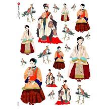Chinoiserie Women Rice Paper Decoupage Sheet ~ Italy