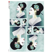 Art Deco Japanese Women Rice Paper Decoupage Sheet ~ Italy