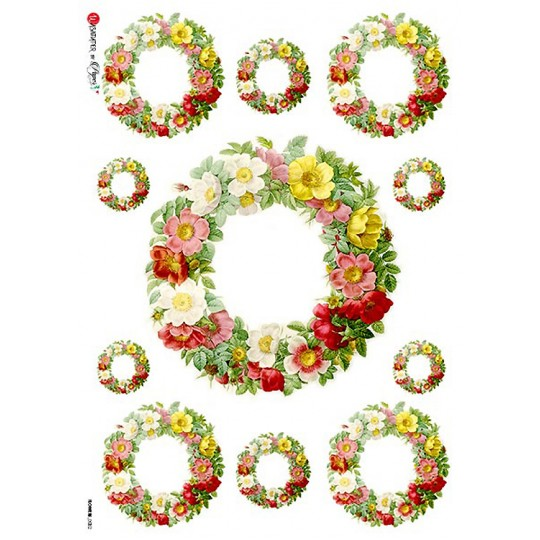 Floral Wreaths Rice Paper Decoupage Sheet ~ Italy
