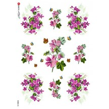 Purple Violets Rice Paper Decoupage Sheet ~ Italy