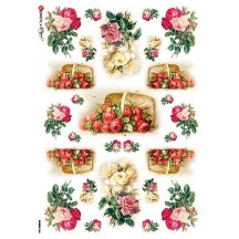 Rose and Baskets Rice Paper Decoupage Sheet ~ Italy