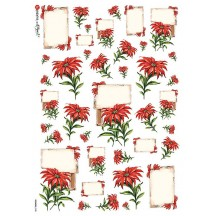 Poinsettia Scrolls Christmas Rice Paper Decoupage Sheet ~ Italy