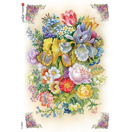 Large Mixed Florals Rice Paper Decoupage Sheet ~ Italy