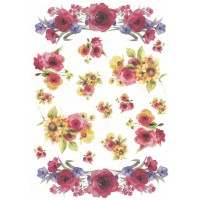 Wild Flower Swags Rice Paper Decoupage Sheet ~ Italy