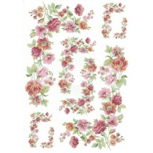 Pastel Flower Corners Rice Paper Decoupage Sheet ~ Italy