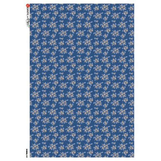 Blue Calico Flowers Rice Paper Decoupage Sheet ~ Italy