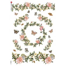 Flowers and Garlands with Butterflies Rice Paper Decoupage Sheet ~ Italy