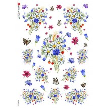 Wild Flowers and Butterflies Rice Paper Decoupage Sheet ~ Italy