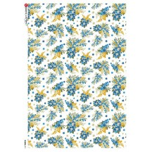 Blue Flower Print Rice Paper Decoupage Sheet ~ Italy