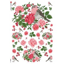 Birds and Red Roses Rice Paper Decoupage Sheet ~ Italy
