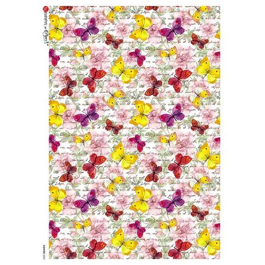 Mixed Butterflies Print Rice Paper Decoupage Sheet ~ Italy