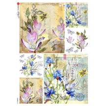 Mixed Flower Ephemera Collage Rice Paper Decoupage Sheet ~ Italy