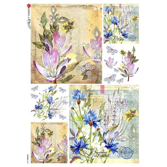 Mixed Flower Ephemera Collage Rice Paper Decoupage Sheet ~ Italy