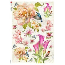 Large Hummingbird and Blossom Rice Paper Decoupage Sheet ~ Italy