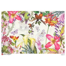 Large Butterfly and Flowers Scene Rice Paper Decoupage Sheet ~ Italy