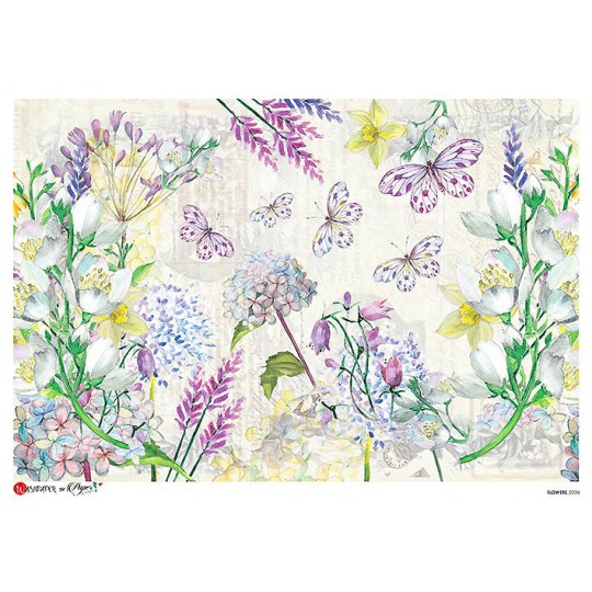 Large Pastel Butterfly and Flowers Scene Rice Paper Decoupage Sheet ~ Italy
