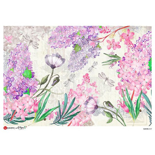 Large Pastel Dragonflies and Lilacs Scene Rice Paper Decoupage Sheet ~ Italy