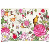 Large Bird and Roses Scene Rice Paper Decoupage Sheet ~ Italy