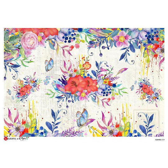 Bold Watercolor Florals Scene Rice Paper Decoupage Sheet ~ Italy