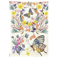 Butterflies and Flowers Rice Paper Decoupage Sheet ~ Italy