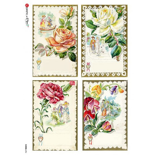 Vintage Calling Cards Rice Paper Decoupage Sheet ~ Italy