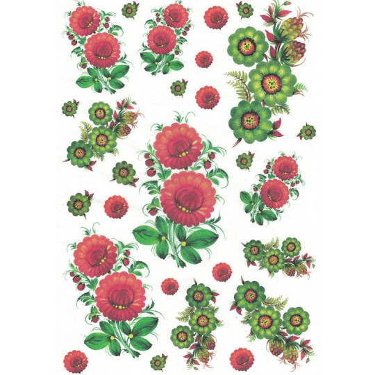Folkloric Flowers Rice Paper Decoupage Sheet ~ Italy